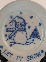 Salmon Falls Stoneware Let it Snow Snowman Christmas Plate 8 inch 1996