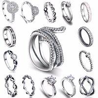 2018 Women Fashion Jewelry 925 Silver White Sapphire Wedding Brand Zircon Ring