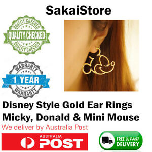 Mickey mouse Daffy duck Mini mouse gold ear rings disney style theme