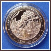 1906 San Francisco Earthquake -  Beautiful Solid Bronze Medal Franklin Mint