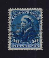 Canada Sc #47 (1893) 50c Deep Blue Widow Weeds VF Used