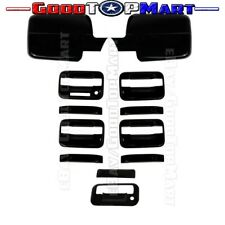 For Ford F150 2004-2008 Black Gloss MIRROR Covers 4 Door Handles W/KP TAILGATE