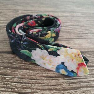 Topman Mens Cotton Blend Floral Flower Multicoloured Skinny Slim Tie