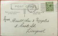 Postcard with King George V One Penny Stamp Posted from Liverpool 7th Sept 1916