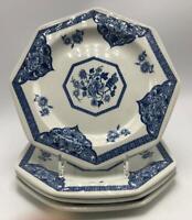 "Old Pekin Blue by J & G Meakin Royal Staffordshire Ironstone 4 Dessert Plates 7"""