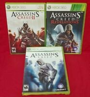 Assassin's Creed I, II, 1 2 Revelations XBOX 360 Game Lot Tested / Working