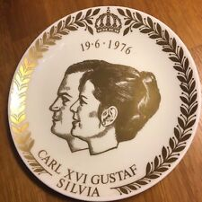 Gustavsberg Plate 1976 King Carl XVI Gustaf and Silvia marriage Gold on White