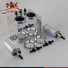 3L High Flow Fuel Swirl Surge Pot Tank + 2PCS External 044 Dual Fuel Pump Silver