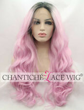 Dark Roots Ombre Pink Wig Cosplay Long Wavy Synthetic Lace Front Wigs For Party