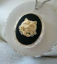 Kitty Cat Cameo Silver plt LOCKET Necklace Persian?: Memory  MOTHERS DAY GIFT
