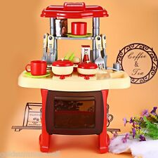 Kid Kitchen Cooking Pretend Role Toy Play Set Lights Music Sound Electronic Rose