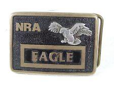 Vintage NRA Silver Eagle Latón Vestido Hebilla de Cinturón sin Marca 11816