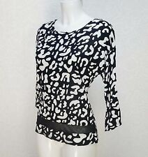 GEORGE black white Animal print mesh hem 3/4 sleeve Jersey Fitted top blouse 8