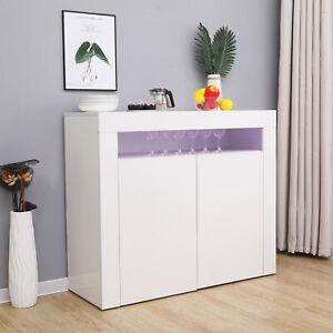 White Sideboard Storage Matt Body&High Gloss Doors Cupboard Cabinet w/LED Lights