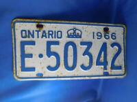 ONTARIO LICENSE PLATE 1966 E 50342 TAG VINTAGE CROWN CANADA  CAR SHOP SIGN