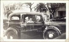 1930s Father & Toddler Child in 1933 Chevrolet Chevy Master Deluxe Sedan Photo