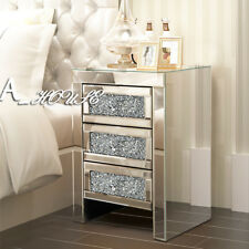 1x Mirrored Glass Crystal Bedside Tables & Cabinets Dressing Bed Room Furnitures
