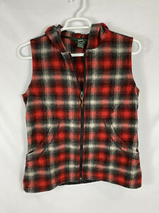 Woolrich Women's Vest Hooded Large Red Plaid Wool Zip Up EUC