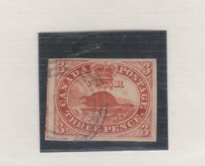 CANADA #4 Three Pence 1852-57 Imperf BEAVER Very Fine used, light cancel CV $300