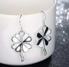 Women Fashion Jewelry 925 Silver Plated 4 Leaf Clover Dangle Hook Earrings 44-6