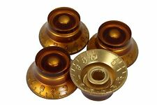 Amber Bell Hat Knobs 4pk for Gibson guitars with US fine splines