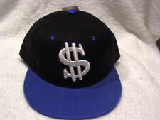DOLLAR SIGN MONEY SNAPBACK  FLAT BILL BASEBALL CAP HAT ( BLACK & PURPLE )