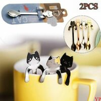 1/2pcs Dinnerware Stainless Steel Coffee Spoons Long Handle Cute Cat Spoon