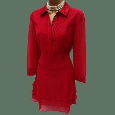 Karen Millen Red Silk Shirt Style Cocktail Party Low Waist Frill Dress 12 UK 40