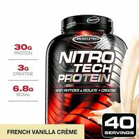 MuscleTech NitroTech Protein Powder Plus Muscle Builder - 4 POUNDS - 6 FLAVORS