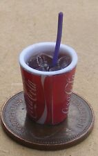1:12 Scale Drink In Plastic Glass + Ice & Straw Coca Cola Label Dolls House Coke