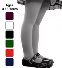 Girls School Tights Plain Rich 7 Colours Ages 0 1 2 3 4 5 6 7 8 9 10 11 12 13