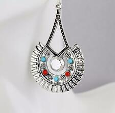 """Silver earrings dangle medallion stamped 2.25"""" long medallion turquoise red"""