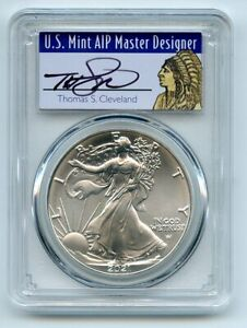 2021 $1 Silver Eagle 1oz Dollar Type 2 PCGS MS70 First Strike Cleveland Native