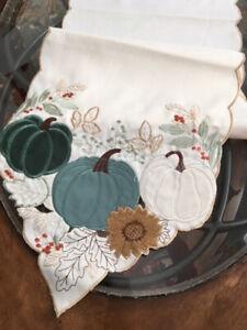 "Thanksgiving Fall Table Runner Pumpkins Applique Embroidered Design 70""x13"