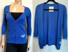 Hollister Button Up Cardigan Womens Size XS Blue Pockets Cropped Sleeve Logo