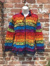 Ladies Rainbow  patchwork hoodie/jacket hippie/boho/festival size S/M