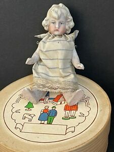 """Antique German 4"""" Hertwig (?) All Bisque Miniature Dollhouse Doll Molded Clothes"""
