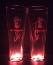 BUDWEISER PINT GLASSES LIMITED EDITION 2018 WORLD CUP BOXED LIGHT UP COASTER x2
