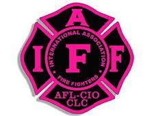 4x4 inch BLACK & PINK Maltese Shaped IAFF AFL CIO Sticker -fire firefighter logo