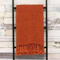 Textured Weave Fringed Throw 100% Acrylic, 150x200cm in Burnt Orange