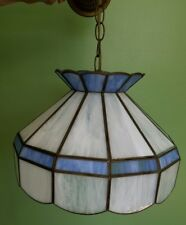 Blue and White slag glass hanging kitchen table cafe light