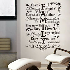 New Creative Family Rules Quote Wall Stickers Decals Home Decoration Mural