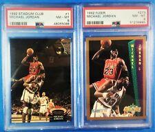 1992-93 Topps Stadium Club #1 & Fleer #273 Michael Jordan  PSA 8 (Lot of 2)