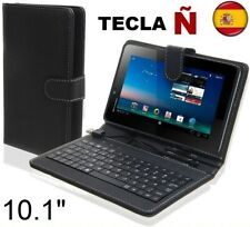 """Funda con teclado tablet 10"""" 10.1"""" Universal Teclado español Ñ Piel Sintetica"""