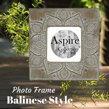 """4x4"""" Brown Flower Photo Frame Picture Memory Balinese Style Home Decor Interior"""