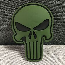 Punisher Skull Military Tactical Morale Airsoft Army Hook PVC Patch Badge Green