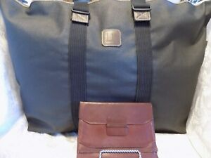 Alfred Dunhill Extra Large Brown Zip Tote Duffle 871458 W/PASSPORT CASE~LOT OF 2