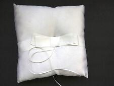 White Ring Bearer Pillow Satin Ribbon Ring Holders Beverly Clarke UNUSED Vintage