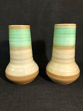 """Shelley Pottery """"Harmony"""" Green & Cream Banded Art Deco Vases No.980"""