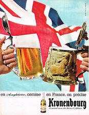 PUBLICITE ADVERTISING 044  1965  KRONENBOURG   bière  en France comme en ANGLET